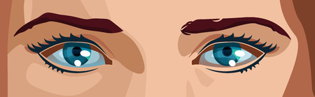 vector color illustration of a women eyes. Simple gradients only, no gradient mesh.