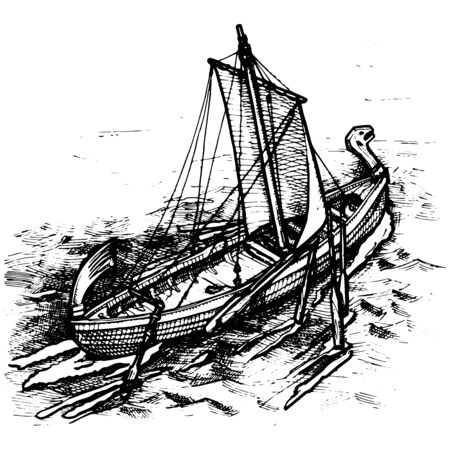 sailer: vector illustration of an old ship stylized as engraving.