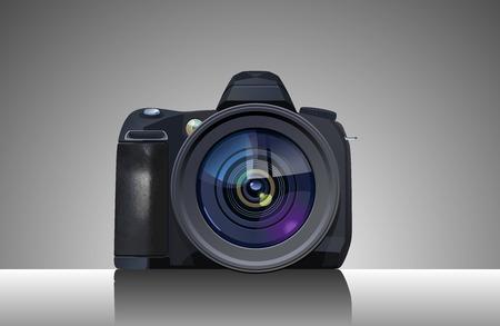 Vector  illustration of  digital single-lens reflex camera. Simple gradients only, no gradient mesh.