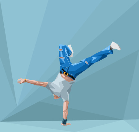breakdancing: vector  illustration in polygonal style of a guy dancing break-dance