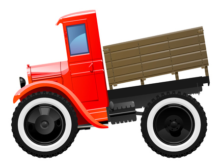 30s: Vector illustration of retro lorry. Simple gradients only, no gradient mesh.