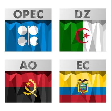 ecuador: Vlaggen van landen die behoren tot de OPEC. Algerije, Angola, Ecuador.