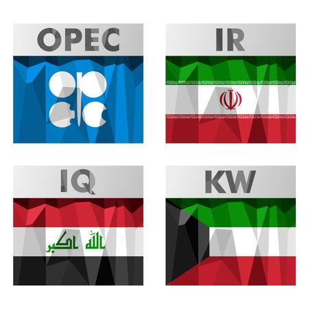 belonging: Flags of countries belonging to OPEC. Iran, Iraq, Kuwait. Illustration