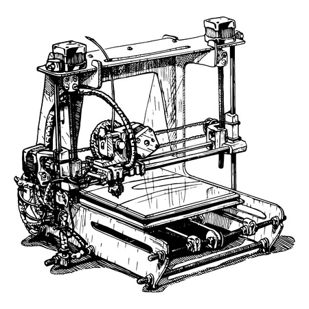 prototyping: Vector illustration of a 3D printer stylized as engraving. Illustration