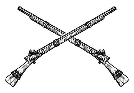 ベクトル マスケット銃が彫刻として様式化された昔の黒と白のイラスト
