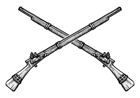 Vector black and white illustration of old musket stylized as engraving Çizim