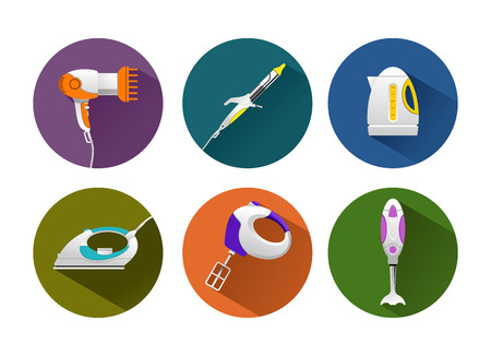 vector illustration of household machines. icons with long shadows. Illustration