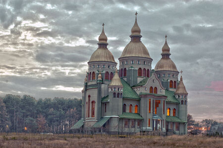imaging: Saint Volodymir and Olga church in Birki town. Lviv state, Ukraine. High Dynamic Range Imaging. Stock Photo