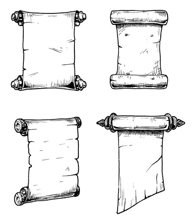 parchment scroll: Vector set of the old scrolls stylized as engraving.