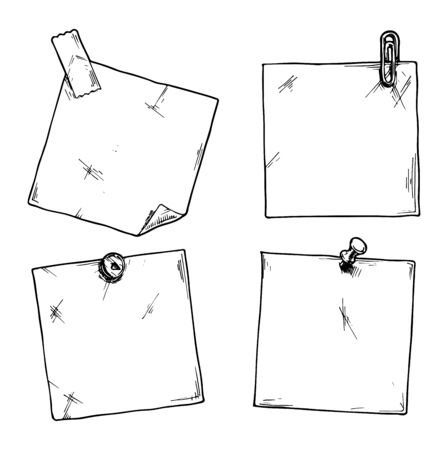 scotch: Set of stickers with a clip, office pins and scotch tape. Illustration