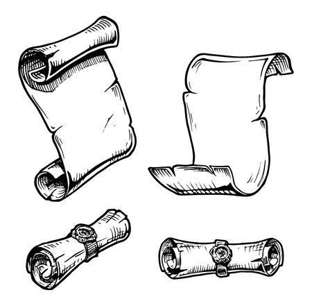Vector Set der alten Schriftrollen stilisiert als Gravur. Standard-Bild - 35857883