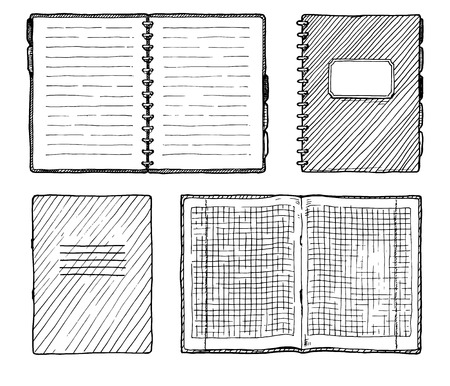 Hand drawn vector illustration of notebooks set.