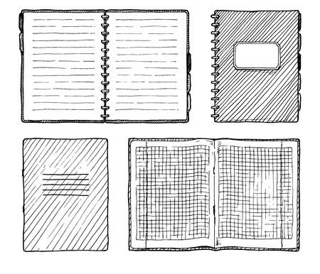 Hand drawn vector illustration of notebooks set.