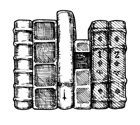 hardback: Vector illustration of the books spines stylized as engraving.