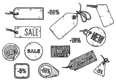 Vector illustration of sale labels set stylized as engraving.