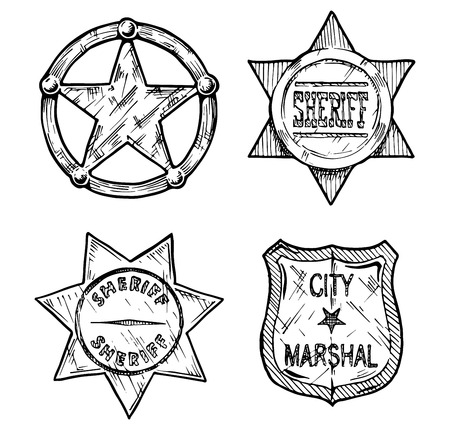marshal: Vintage sheriff and marshal badges set stylized as engraving.