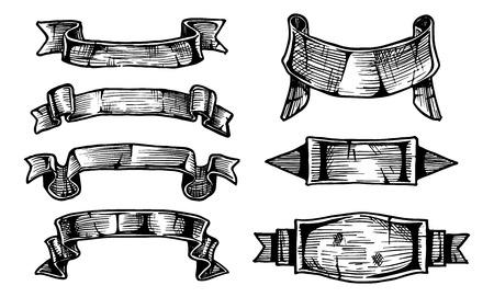 vector illustration of  vintage ribbon banners. hand drawn set. Vector