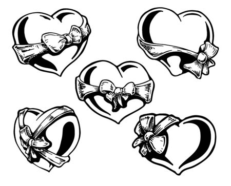 Set of Valentine hearts with a bow-knots. vector illustration. hand drawn. Vector