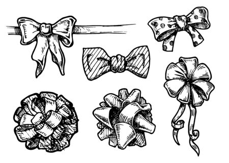 bowknot: vector illustration of vintage bow-knots, hand drawn set.