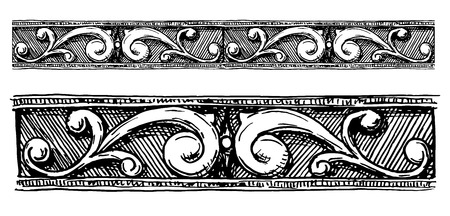 Vector vintage floral seamless border moldings stylized as engraving. Ilustracja