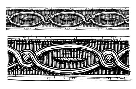 moldings: Vector vintage baroque seamless border moldings stylized as engraving. Illustration