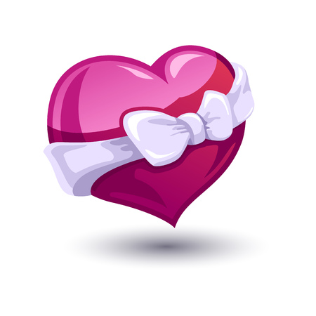 bowknot: Color vector illustration of Valentine heart with a bow-knot.