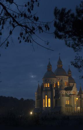Saint Volodymir and Olga church in Birki town. Lviv state, Ukraine.