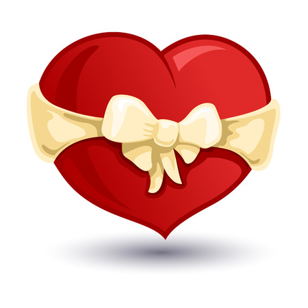 bowknot: Color vector illustration of Valentine heart with a beige  bow-knot. Illustration