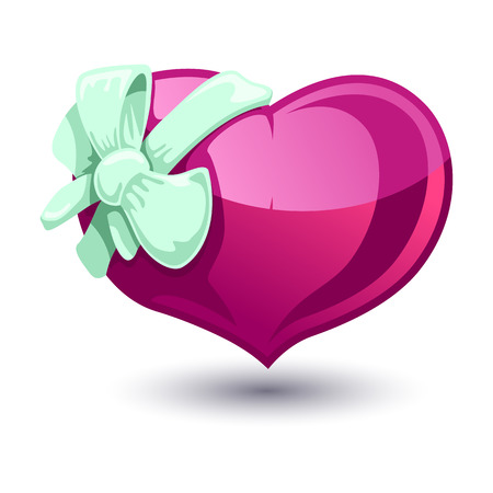 bowknot: Color vector illustration of Valentine heart with a green bow-knot on white background