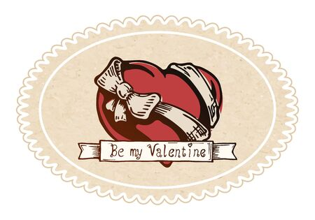 tattooing: Color vector illustration of Valentine heart with a bow-knot