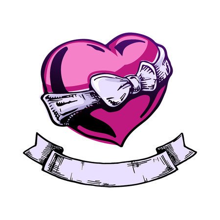 bowknot: Heart tattoo with ribbon. Place to insert your text. Color vector illustration. Illustration