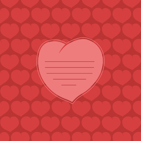 amorous: color vector illustration of Valentine hearts on red background. Place to insert your text. Illustration