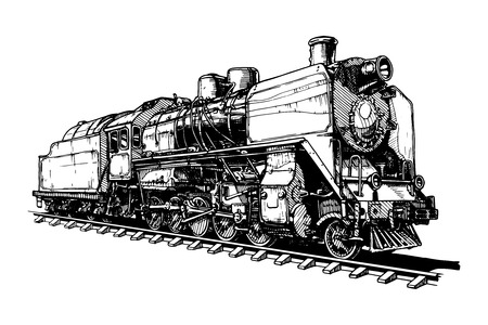 black train: illustration of a old steam locomotive stylized as engraving