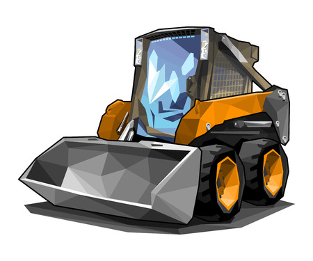 A small skid loader in polygonal style. Solid fill only, no gradients. Illustration