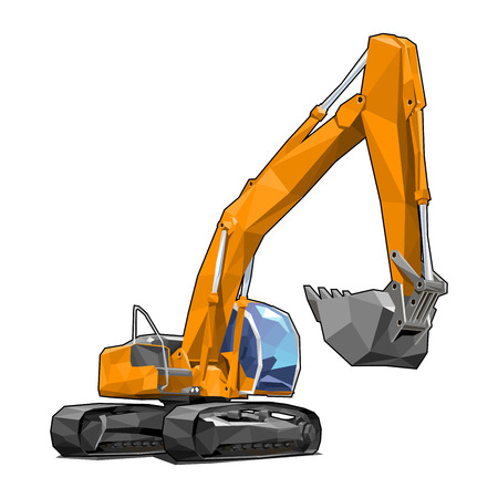 Heavy tracked orange excavator isolated on white background in polygonal style. Solid fill only, no gradients.