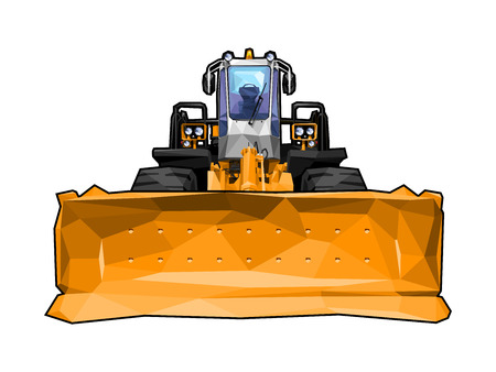 vector illustration of a bulldozer in polygonal style. Solid fill only, no gradients. Illustration