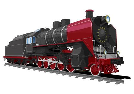 白い背景に分離された古い蒸気機関車のイラスト。単色の塗りつぶし、グラデーション。