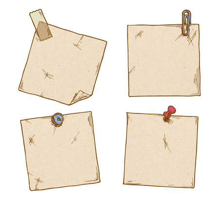 Set of stickers with a clip, office pins and scotch tape. Illustration