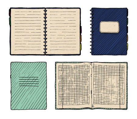 open notebook: Hand drawn vector illustration of notebooks set.