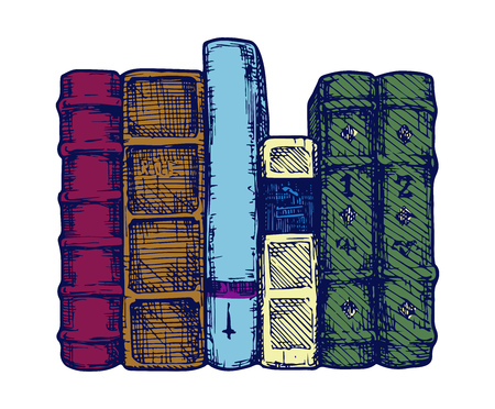 Vector illustration of the books spines stylized as engraving.
