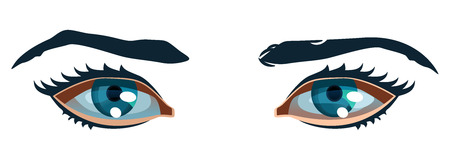 vector color illustration of a women eyes. Simple gradients only, no gradient mesh. Vector
