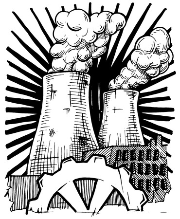 nuclear power plant: Vector illustration of  nuclear power plant  stylized as engraving.