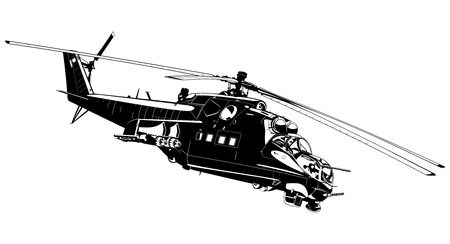 vehicle combat: black and white illustration of the Russian Helicopter gunships. Illustration