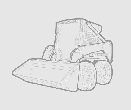 A small skid loader in in gray lines. gray background.
