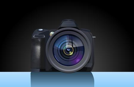 reflex: Illustrazione vettoriale di digital single-lens reflex. Solo di semplici sfumature, maglia nessun gradiente.