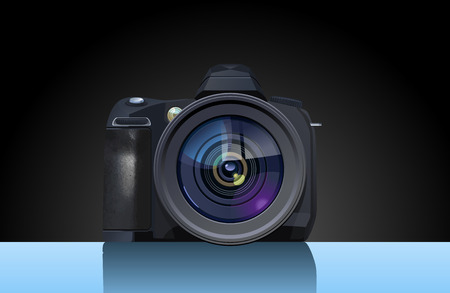 reflex: Vector  illustration of  digital single-lens reflex camera. Simple gradients only, no gradient mesh.