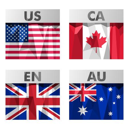 bandera de gran bretaña: Banderas EE.UU., Canadá, Gran Bretaña y Australia iconos conjunto de estilo poligonal. Vectores