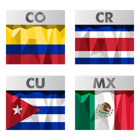 cr: flags of Latin America. Colombia, Costa Rica, Cuba and Mexico.
