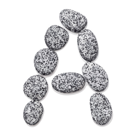 Letter a.  Letter made of little stones. On white. Vector Illustration.