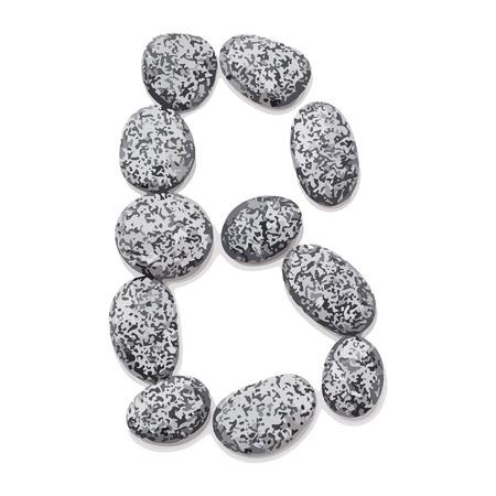 Letter B.  Letter made of little stones. On white. Vector Illustration.